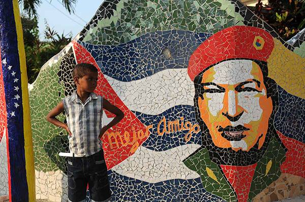A mural to Chavez on the outskirts of Havana.