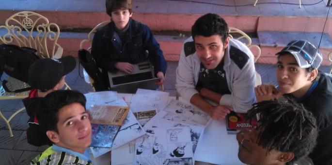 Montos (c) in his native Sancti Spiritus at a workshop on story creation.
