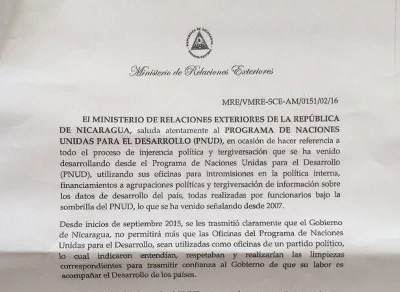 Extract of the letter sent by the Nicaraguan government to the UN Development Programme