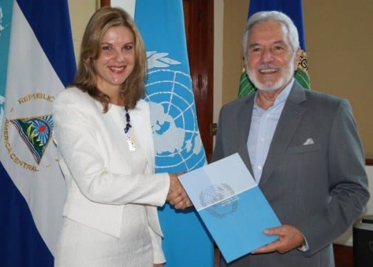 Silvia Rucks when she presented her credentials as the UNDP representative to Foreign Minister Samuel Santos.