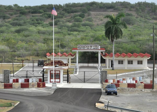 Gate at the Guantanamo Naval Base on occupied Cuban territory.