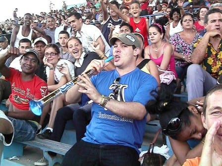 Fans at Havana's Latinoamericano Stadium where the game will be played.