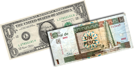 The US Dollar and the Cuban Convertible Peso (CUC) Foto: ipsnoticias.net