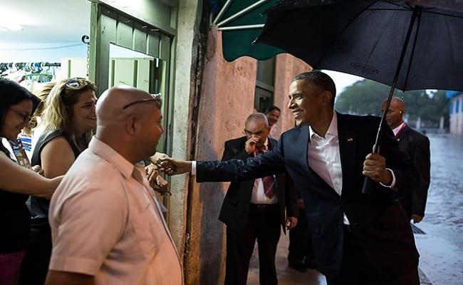 Obama greeting Havana residents.