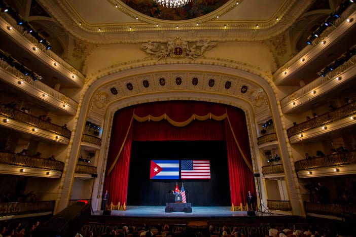 Obama addressed all Cubans on national television, from a podium at Havana's Grand Theater.