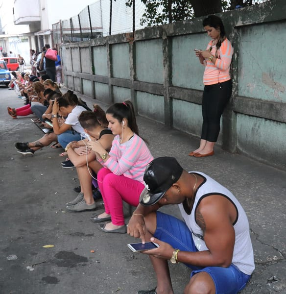 One of the pay-for WiFi hot spots in Vedado. Photo: Juan Suarez