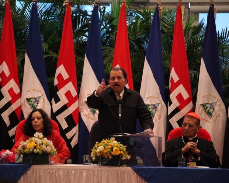 First lady, Rosario Murillo, Daniel Ortega and Miguel Obando y Bravo. File Photo: Confidencial.