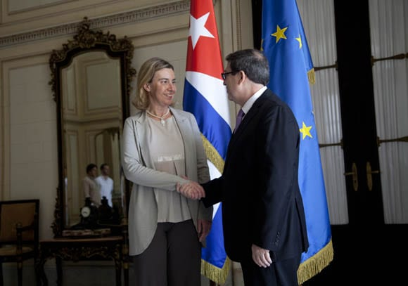 Federica Mogherini and Bruno Rodriguez at the Cuban Foreign Ministry. Photo: Ismael Francisco/Cubadebate