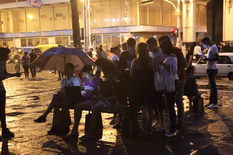 Pay-for WiFi in Centro Habana. Photo: Juan Suarez