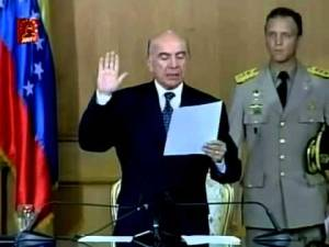 Pedro Carmona was sworn after the Venezuelan coup in 2002, but his presidency only lasted two days.