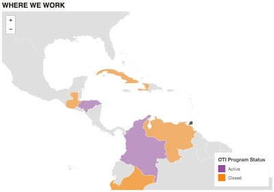 OTI has active programs in Colombia and Honduras, among other countries.