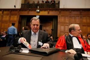 El embajador de Nicaragua en Holanda, Carlos Arguello Gomez, after the ruling at the World Court in The Hague. Photo. Bas Cezrwinski/EFE
