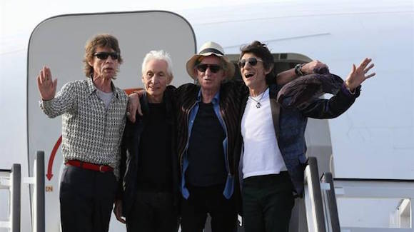 The Rolling Stones arriving in Cuba for their historic concert.