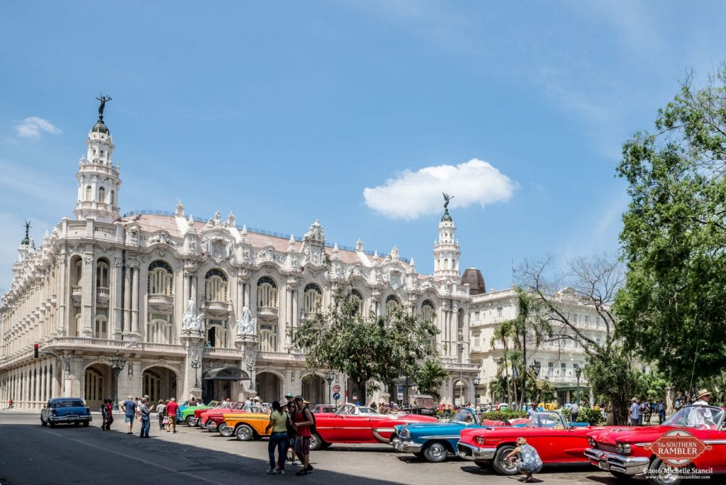Vintage US cars in front of the Havana Grand Theater (Michelle Stancil)