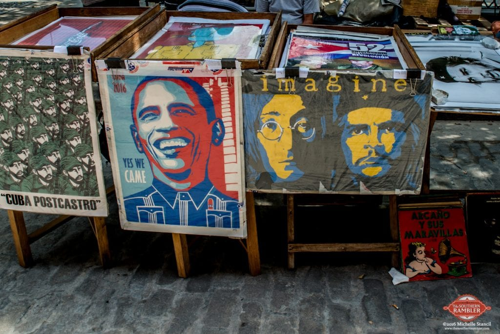 "President Obama and his family visited Cuba March 20-22. ""Yes We Came"" posters are sold at flea markets (Michelle Stancil)"