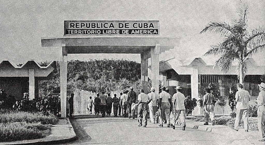Cuban workers returning home after a day's labor on the US Guantanamo Naval Base.