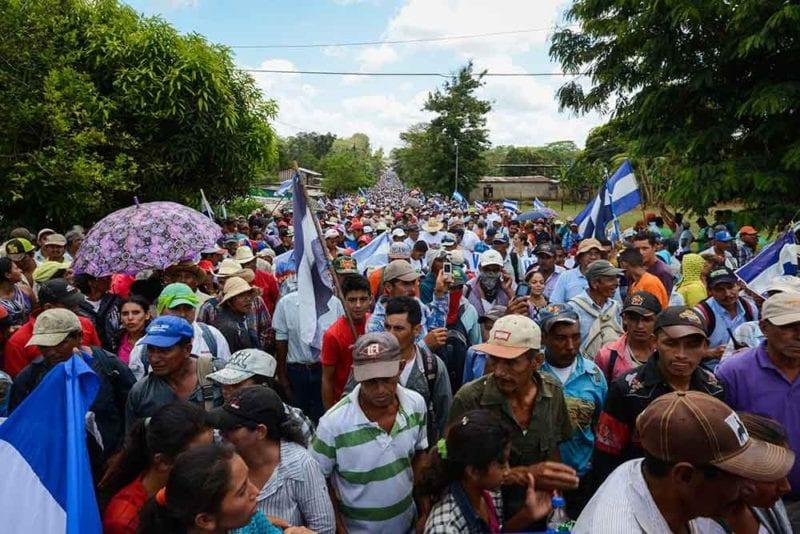 A view of the demonstration in Nueva Guinea. Carlos Herrera/Confidencial