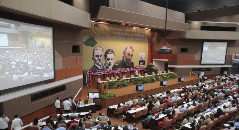 The stage is set for the 7th Congress of the Cuban Communist Party. Photo: Ismael Francisco/cubadebate.cu