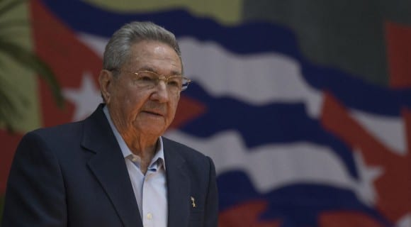Raul Castro addressing the 7th Cuban Communist Party Congress