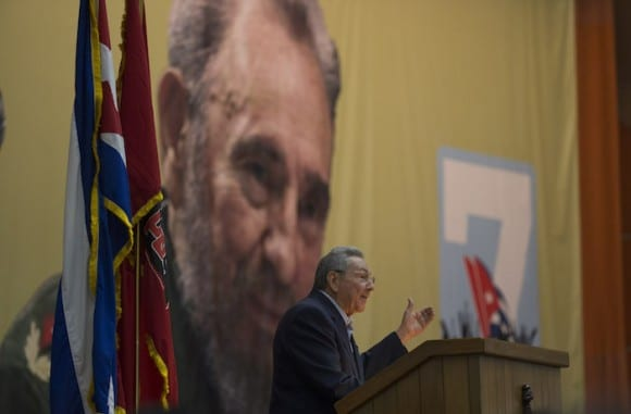 Raul Castro speaking to the 7th Cuban Communist Party Congress