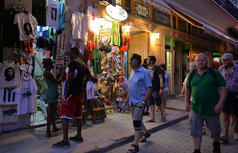 "Obispo Street offers tourists mass produced ""crafts."""