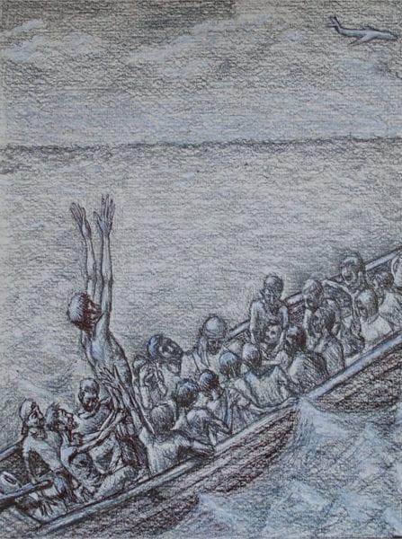 A drift at sea. Ilustration by Carlos.