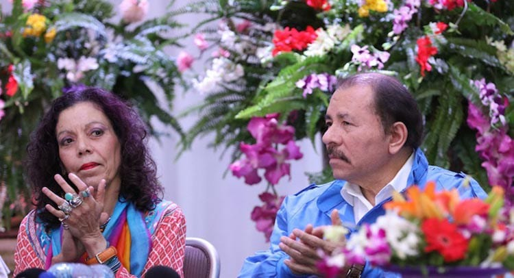 Rosario Murillo and Daniel Ortega at the Sandinista Assembly held on Friday May 20th. Photo: Presidencia