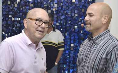 Miguel Barnet (left) alongside ex-spy Gerardo Hernandez, recently appointed vice rector at Havana's Advanced Institute of International Relations.