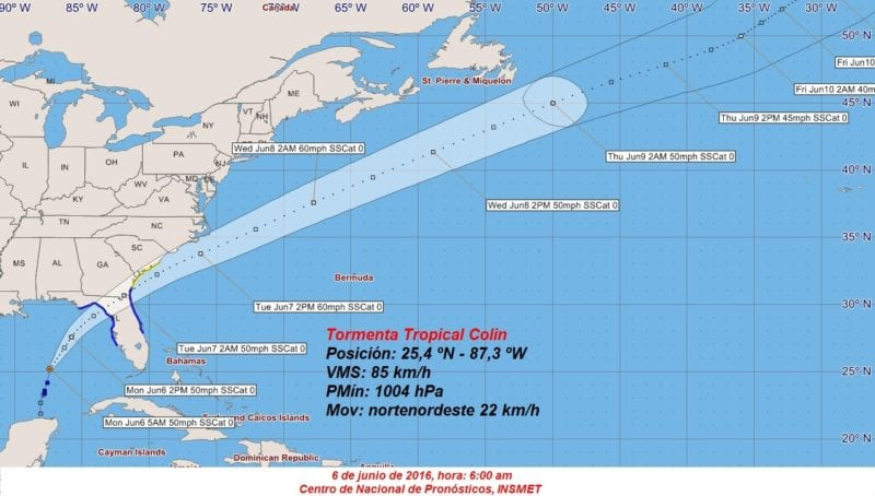 The Cuban Weather Service (INSMET) cone projection for tropical storm Colin at 6:00 a.m. local time on Monday.