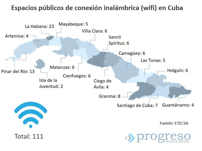 Map of Cuba's public, pay-for Wi-Fi hotspots.