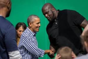 Obama and Shaq. Photo: scoopnews.com.it