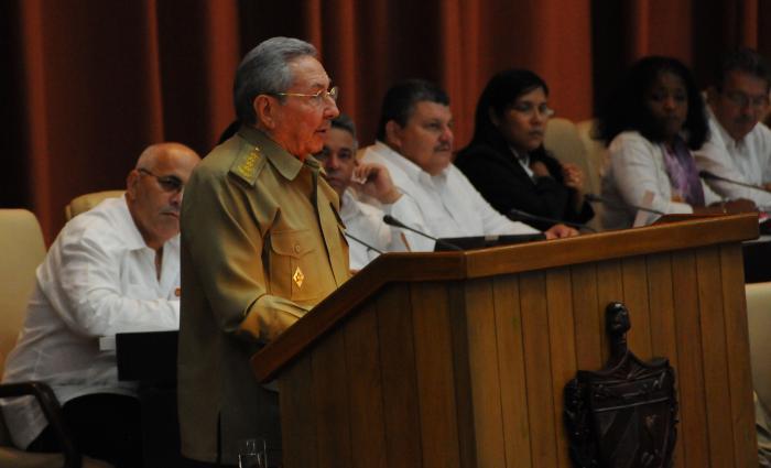 Raul Castro addressing Cuba's National Assembly. Photo: Juvenal Balan/granma