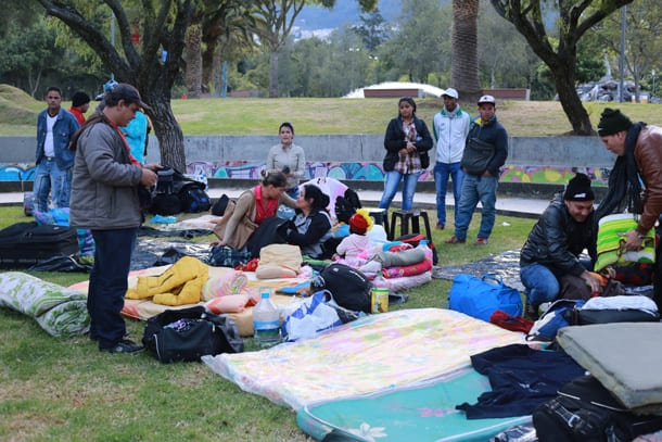 Cubans camped out in a park in Quito, Ecuador.