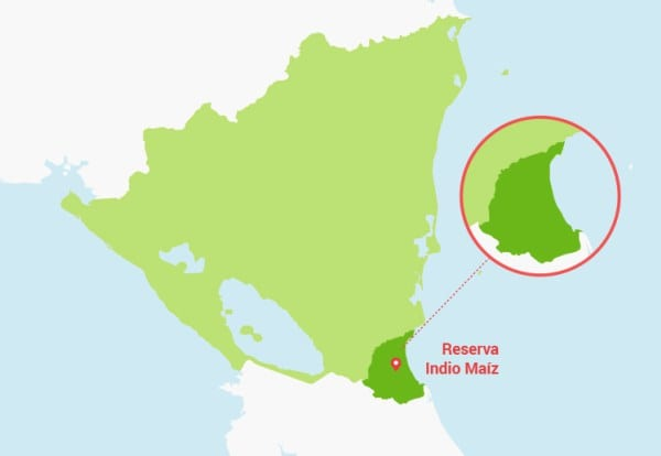 Map of Nicaragua showing the Indio Maiz Reserve.