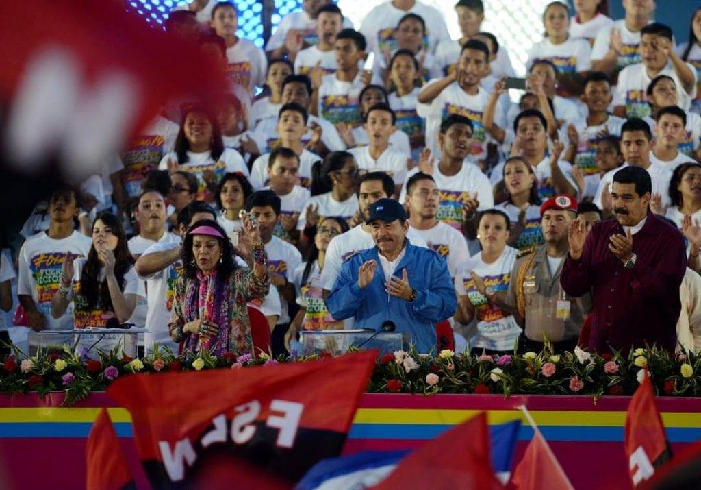 Rosario Murillo, Daniel Ortega and Nicolas Maduro at the July 19th celebration in Managua. Photo: Carlos Herrera/confidencial
