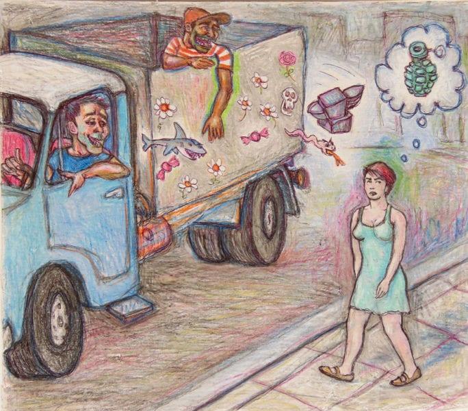 Harassment on the street.  Illustration: Carlos