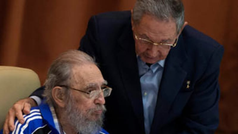 Is it time to say goodbye? Fidel Castro with Raul Castro during a session of the 7th Cuban Communist party congress, last April.