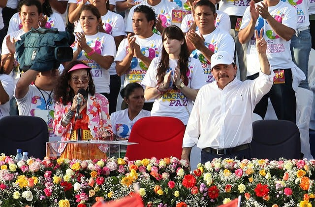 Ortega's chosen running mate in this electoral farce is his eternally loyal wife Rosario Murillo (l).