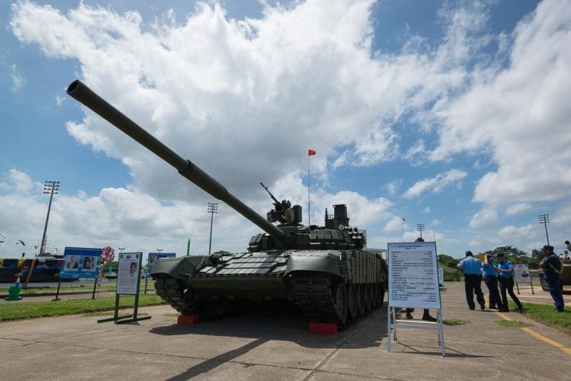 The first of the lot of T-72 Russian Tanks aquired by the Nicaraguan Army. Photo: Carlos Herrera/confidencial