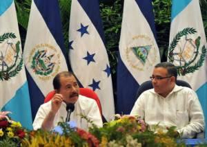 Daniel Ortega with ex-president Mauricio Funes. File Photo: Mario Lopez /EFE