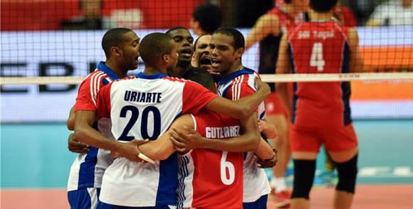 The Cuban national volleyball team.