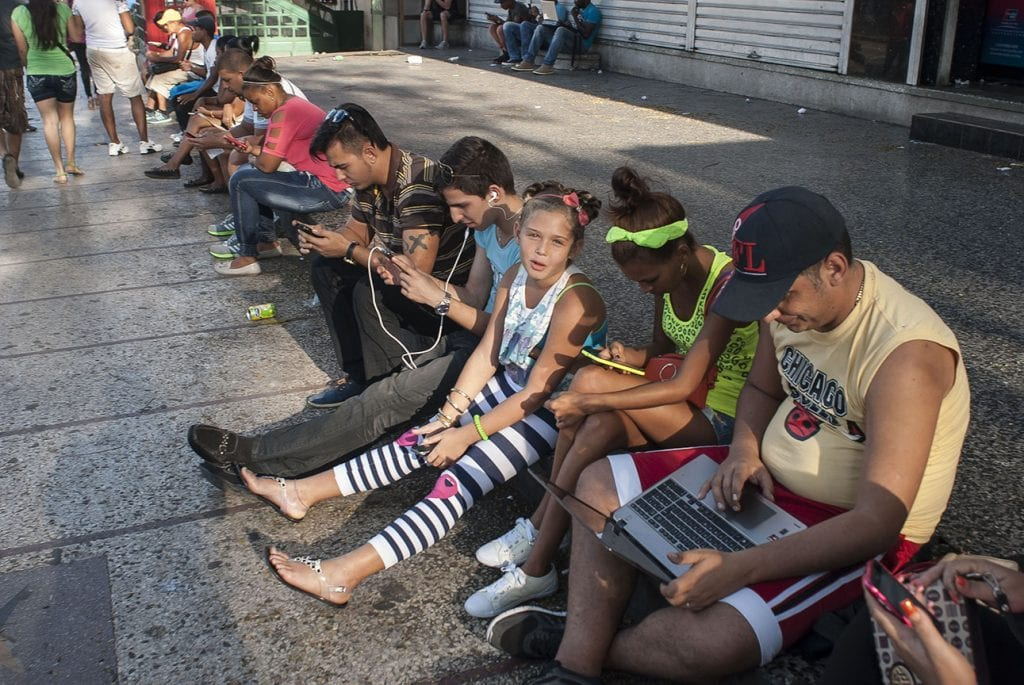 One of Cuba's expensive pay-for Wifi hotspots. Photo: Caridad