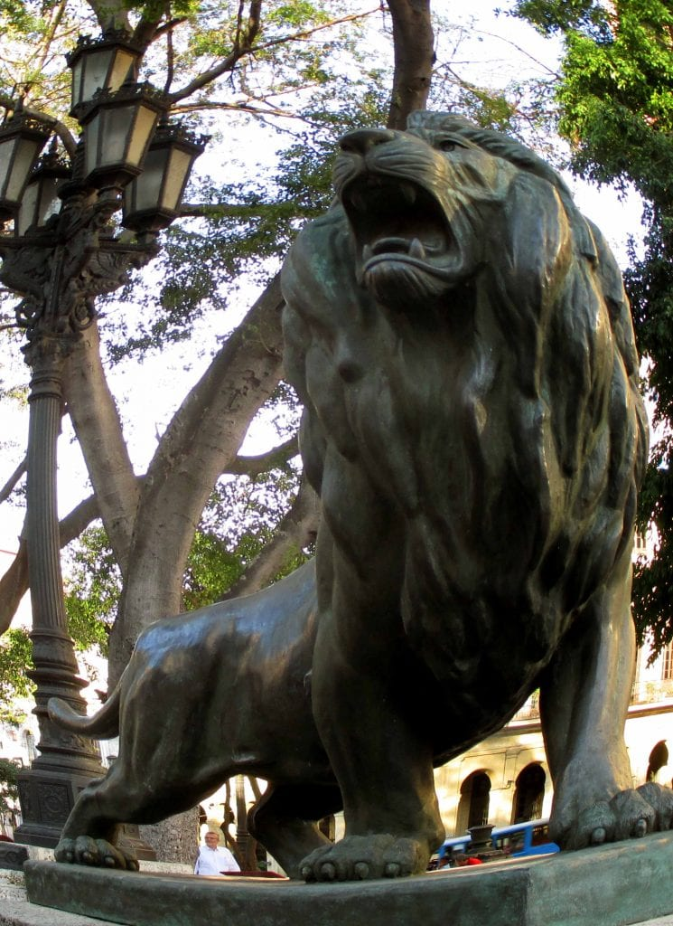 Lion on Old Havana's Prado promenade.