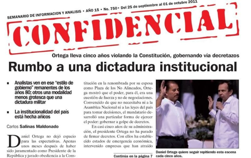A Confidencial cover from 2011 reporting on the turn towards dictatorship occuring in Nicaragua.