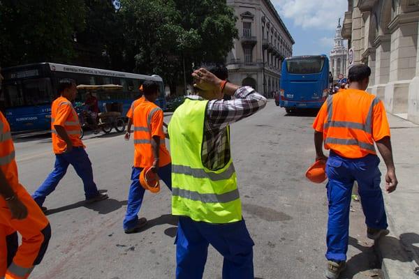 Indian construction workers in Old Havana. Photo: Juan Suarez