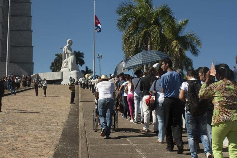 Waiting in line to say goodbye to Fidel Castro.