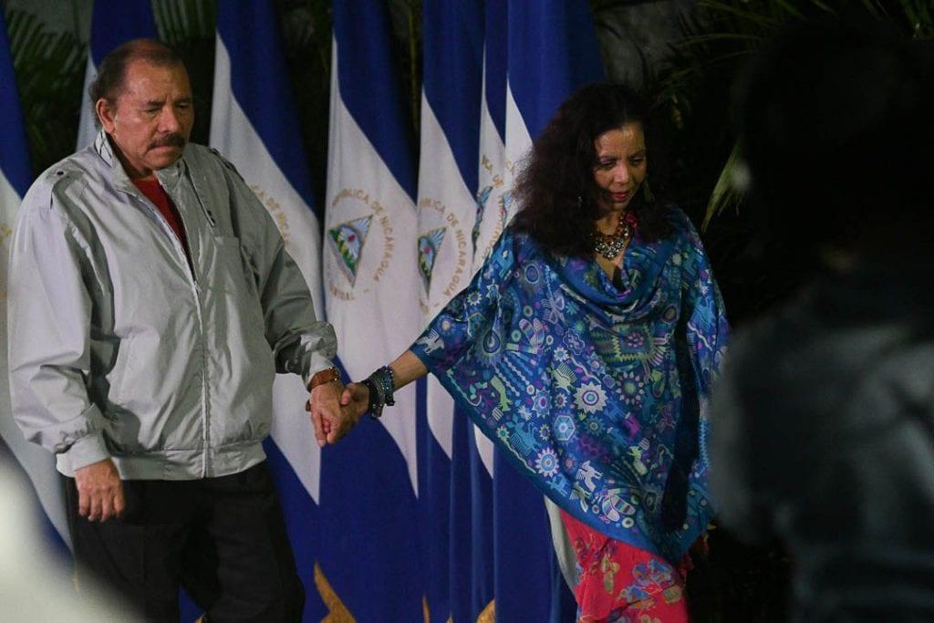 Daniel Ortega and Rosario Murillo on election night.