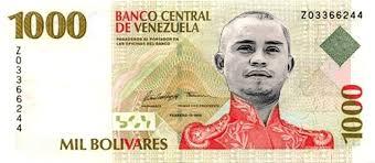 A new 1000 Bolivar bank note. Photo: http://quepasaenvenezuela.com
