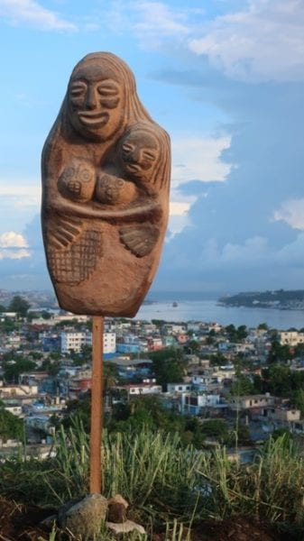 Image of the Pachamama created by Rafael Sanchez Ruiz. In the background is Havana Bay